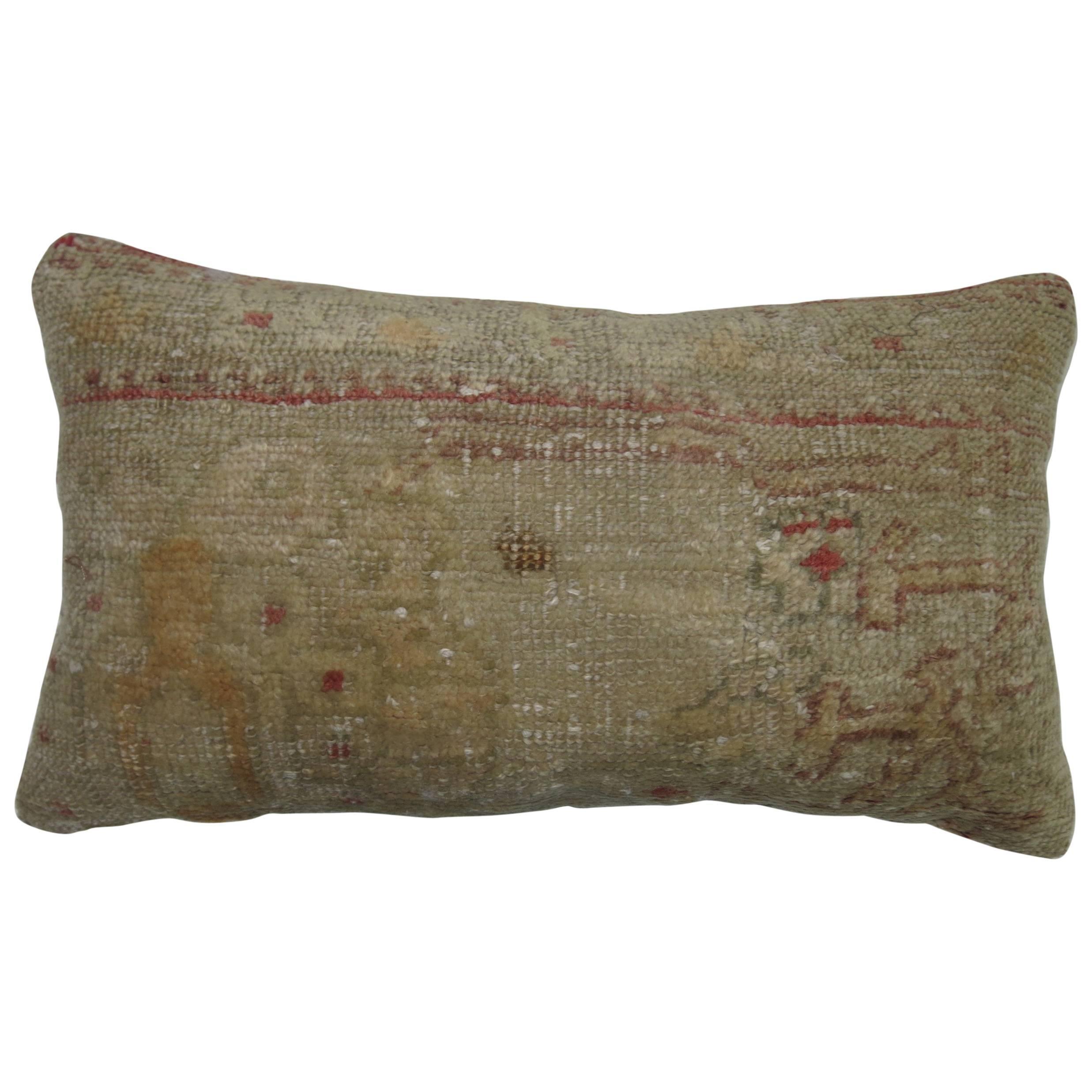 Turkish Oushak Bolster Rug Pillow