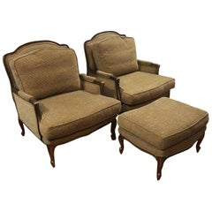 Custom Bergere Style Armchairs and Ottoman