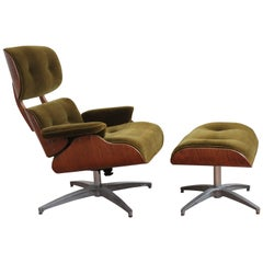 Mid-Century Modern Charlton Lounge Chair and Ottoman