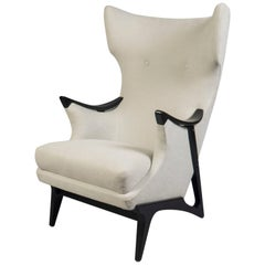 Wingback Armchair with Ebonized Wood Structure, Denmark, 1960s