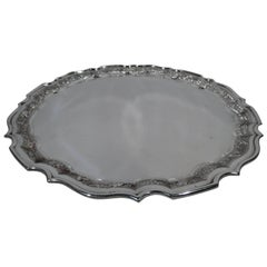 Antique Indo-Chinese Silver Tray with Exotic Ornament