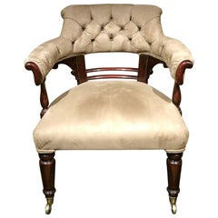 19th Century Upholstered Mahogany Library Chair, England Circa 1840