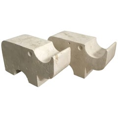 Pair of Travertine Rhinoceros Statues by Flli Mannelli for Raymor