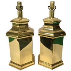 Hollywood Regency Brass Canister Table Lamps