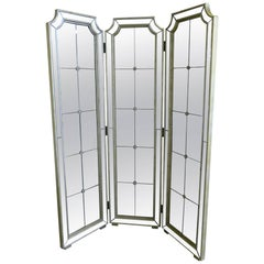 20th Century Decorative Three-Panel Framed and Mirrored Screen