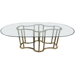 Stunning Mastercraft Brass Racetrack Dining Table Hollywood Regency