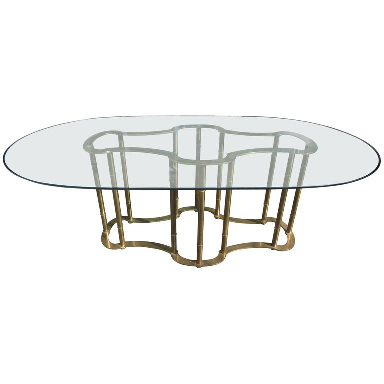 Stunning Mastercraft Brass Racetrack Dining Table Hollywood Regency For Sale