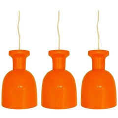 Set of 3 Mandarin Orange Glass Lamps by RAAK Amsterdam. Netherlands, 1970s