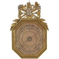 French Empire Period Gilt & Silver Gilt Octagonal Barometer, Early 19th Century