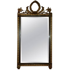 Pair of Gilt and Black Mirrors Adorned with a Floral Crown at Top, 20th Century