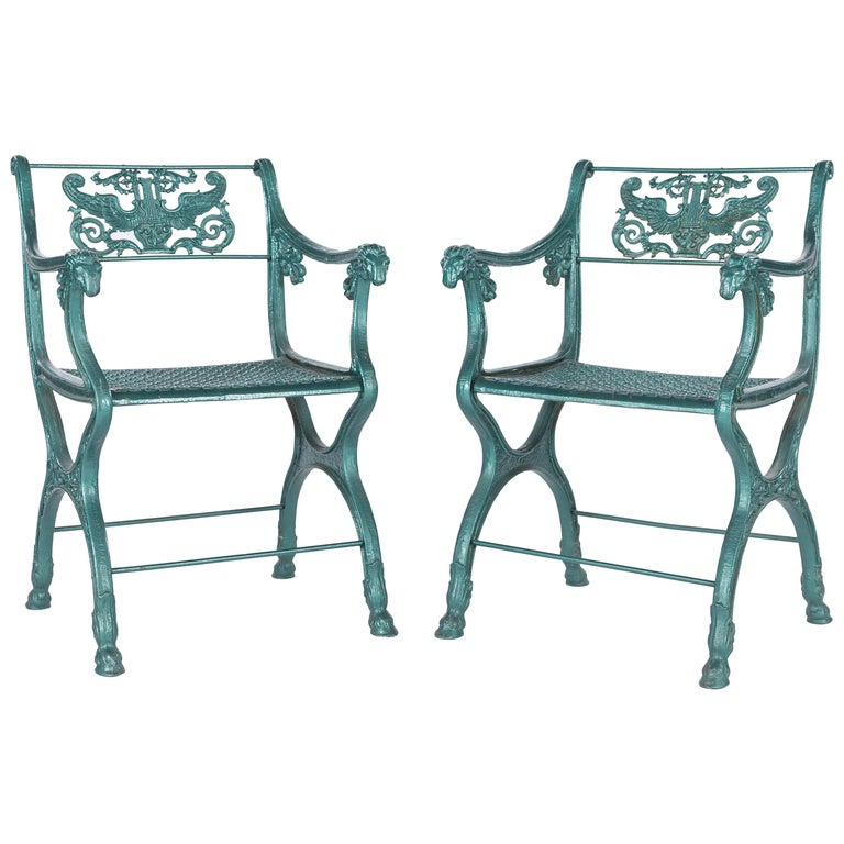 Pair of Classic Roman-Style English Cast Iron Garden Chairs, 19th Century