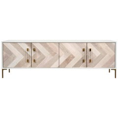 Mid-Century Style Bleached Walnut Storage Credenza with Lucite & Brass Hardware