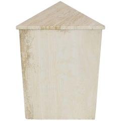 Triangular Travertine Pedestal Stand Side Table