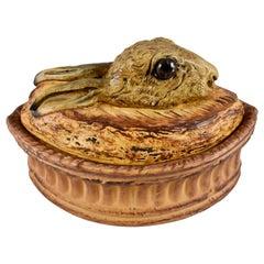French Pillivuyt Trompe L'oeil Porcelain Hare or Rabbit in a Crust Pâté Terrine