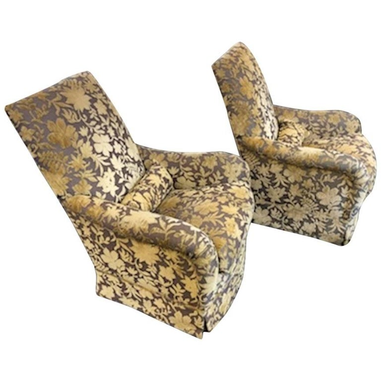 Pair of Custom J. F. Fitzgerald Velvet Armchairs