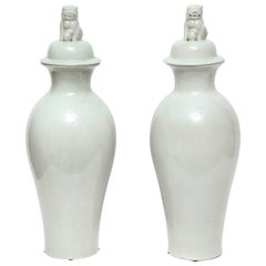 Pair of Chinese Crackle Glaze Temple Jars