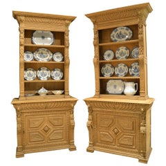 Pair of Bleached Oak Carved Bookcases