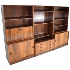 Danish Rosewood Bookcase in Three Sections