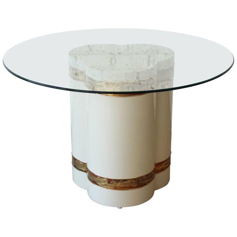 Bernhard Rohne for Mastercraft Acid Etched Brass Pedestal Dining or Center Table