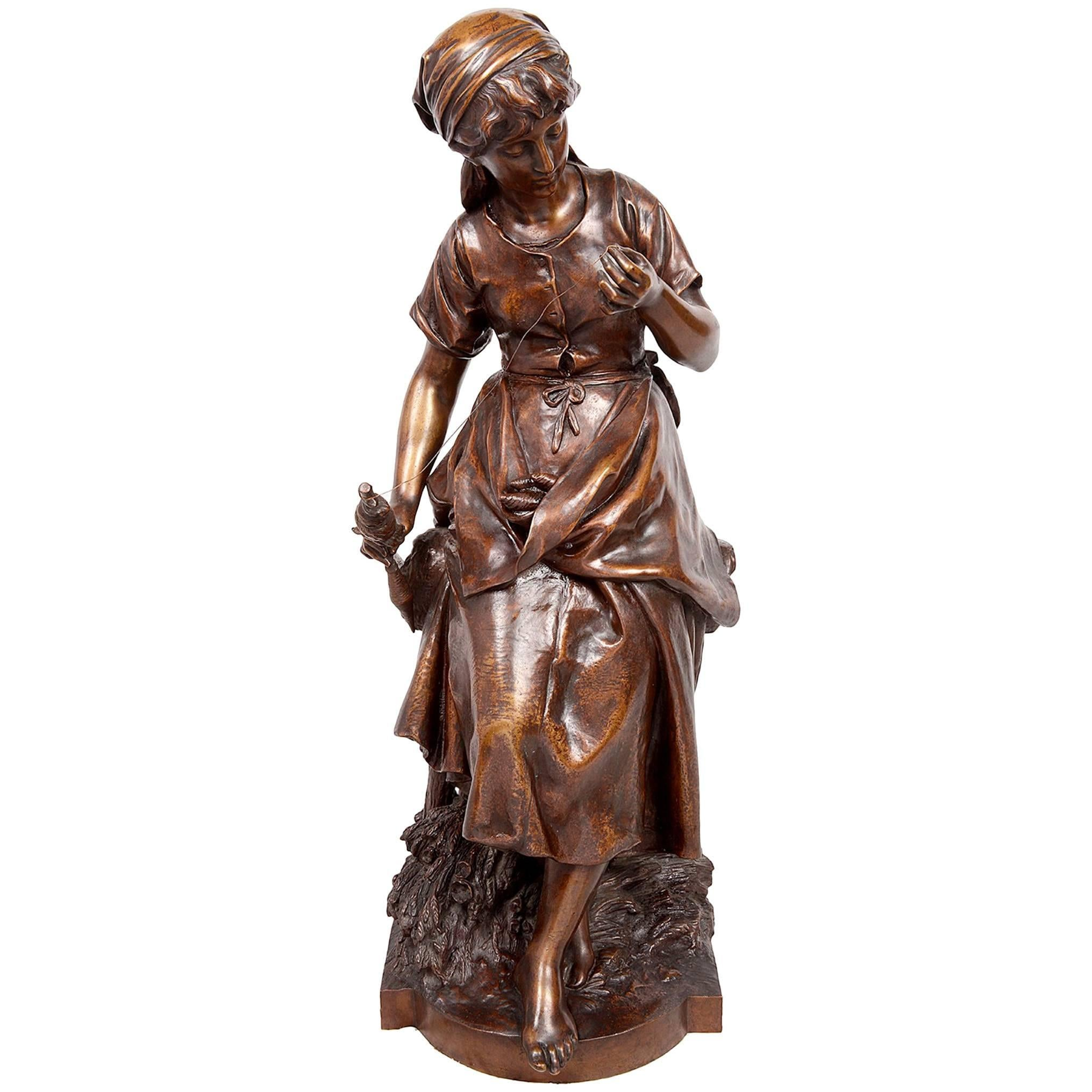 Math. Moreau Bronze Statue of a Lady Spinning