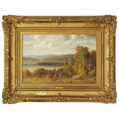 Thomas B. Griffin, Antique Oil Landscape Painting of Lake