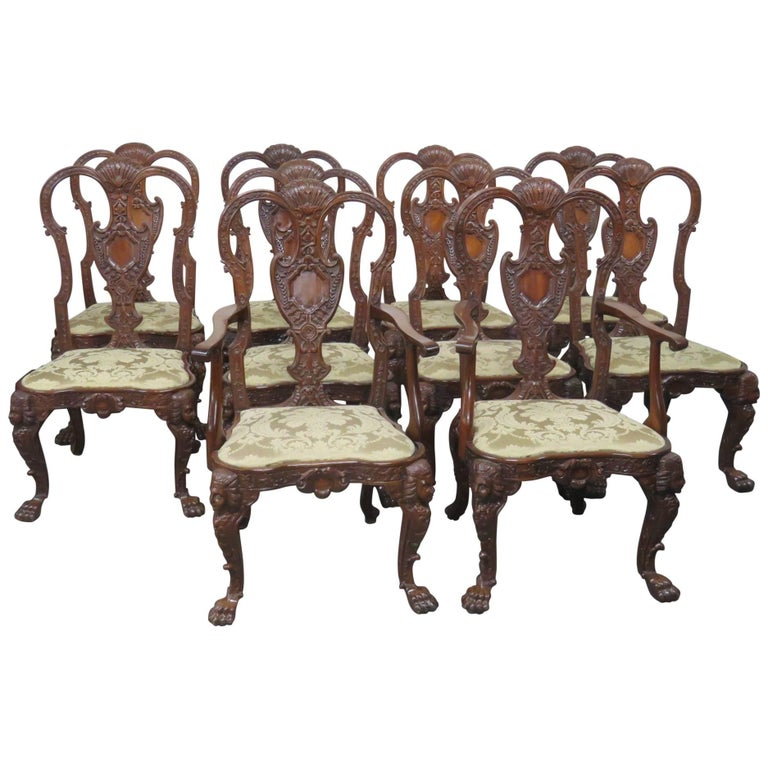 Set of Ten Georgian Style Dining Chairs