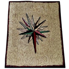 Early 20th Century Starburst Hooked Rug
