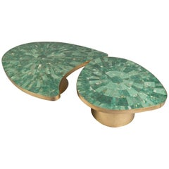 Two-Part Brass Coffee Table with Jade Tiles, France, 2017