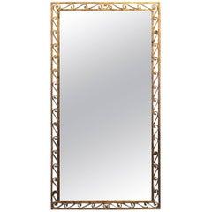 Large Gold Gilt Metal Scroll Design Frame Mirror, France, 1940s