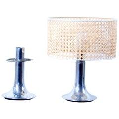 Pair of Aluminium Lamps, 1970s