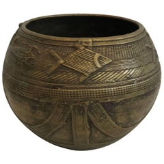 Early 20th Century Engraved Brass Offering Bowl or Vessel from Nepal