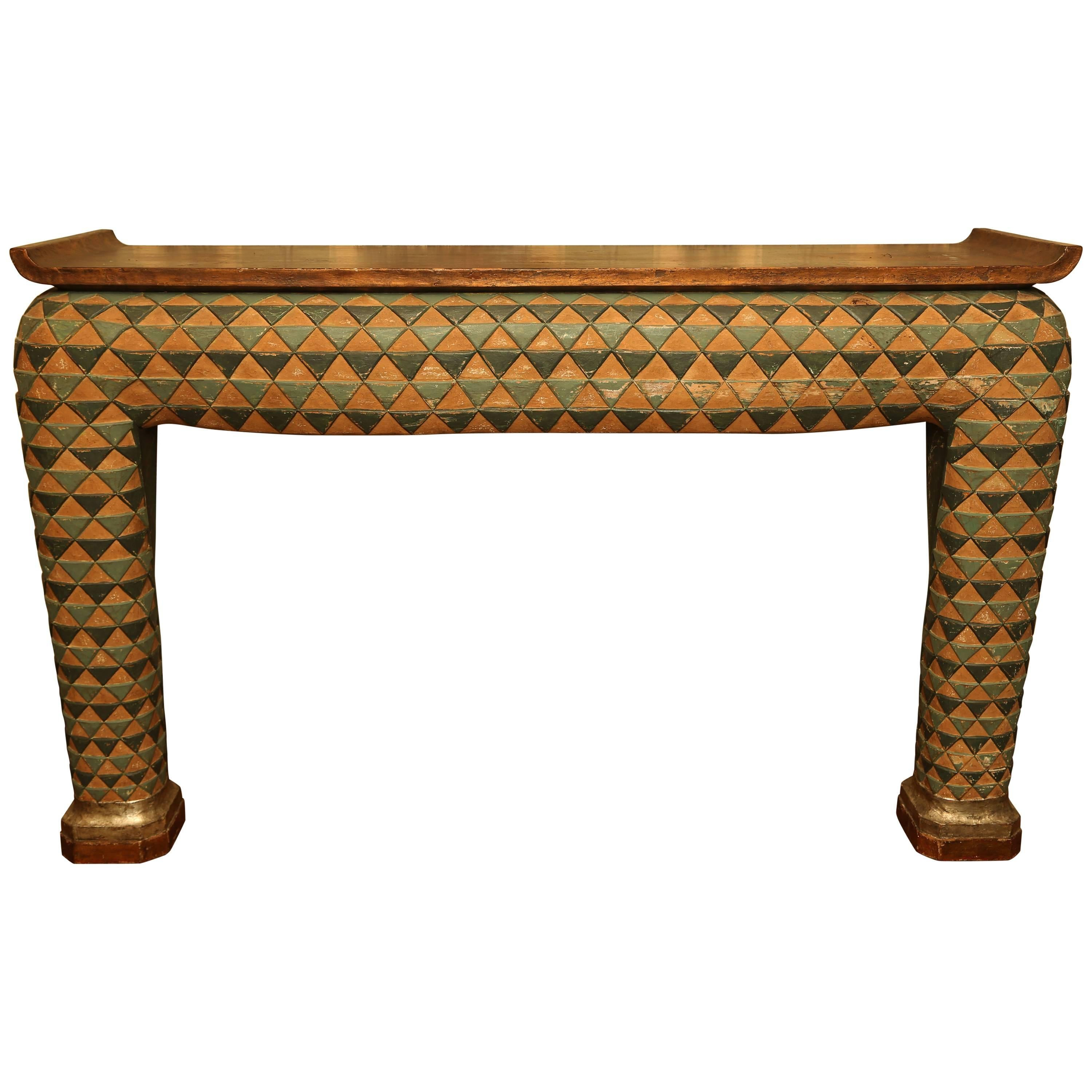 Unusual Asian Style Polychrome Plaster Console Table For Sale