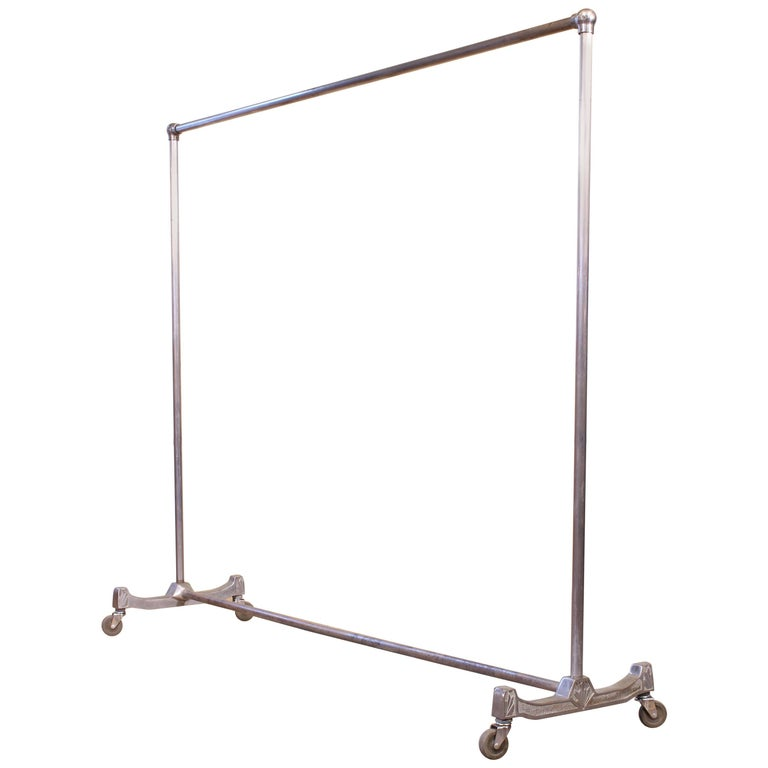 Vintage Rolling Garment Rack, Clothing Coat Stand Art Deco For Sale