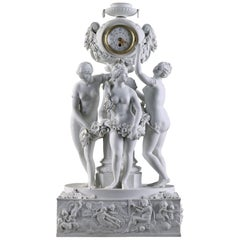 Late 19th Century Volkstedt-Rudolstadt, Bisque Clock the Three Graces