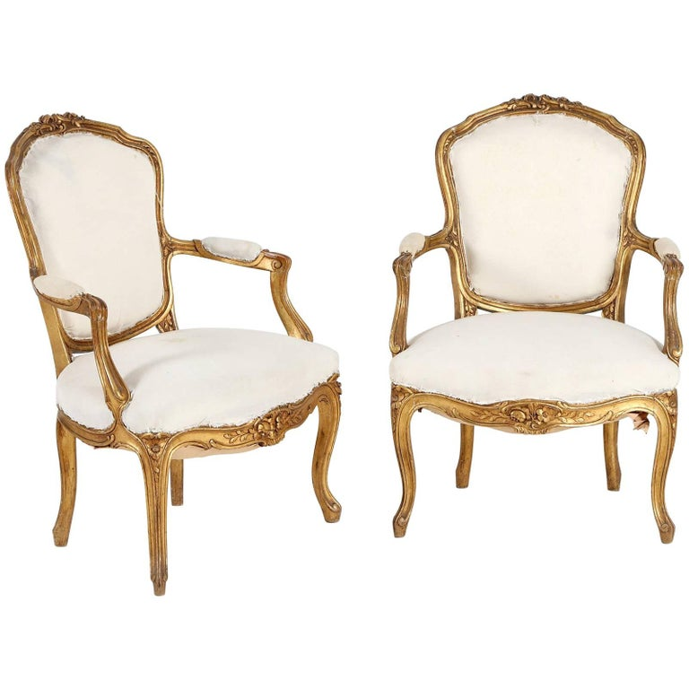Pair of Armchairs Rococo Style