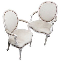 Pair of Cameo Back Gustavian Swedish Paint Decorated Armchairs
