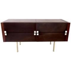 French Rosewood and Leather Vanity Dresser by Roger Landault