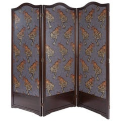 Vintage Three Panel Folding Screen with Osborne and Little Wallpaper