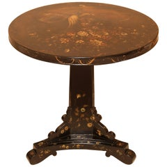 Mid-19th Century English Black Japanned Tilt-Top Table