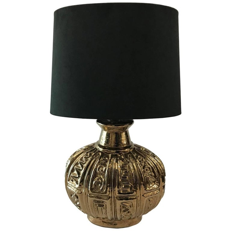 Mid-20th Century American Ceramic Lamp with Custom Brown Suede Shade