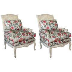 Pair of Gray-Painted Louis XV Style Armchairs