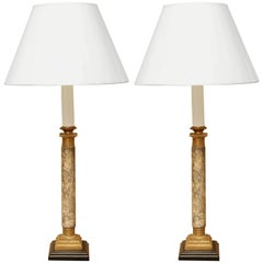 Pair of 19th Century French Gray Marble and Gilt Bronze Candlestick Lamps