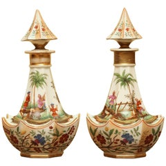 Pair of Paris Porcelain Chinoiserie Scent Bottles
