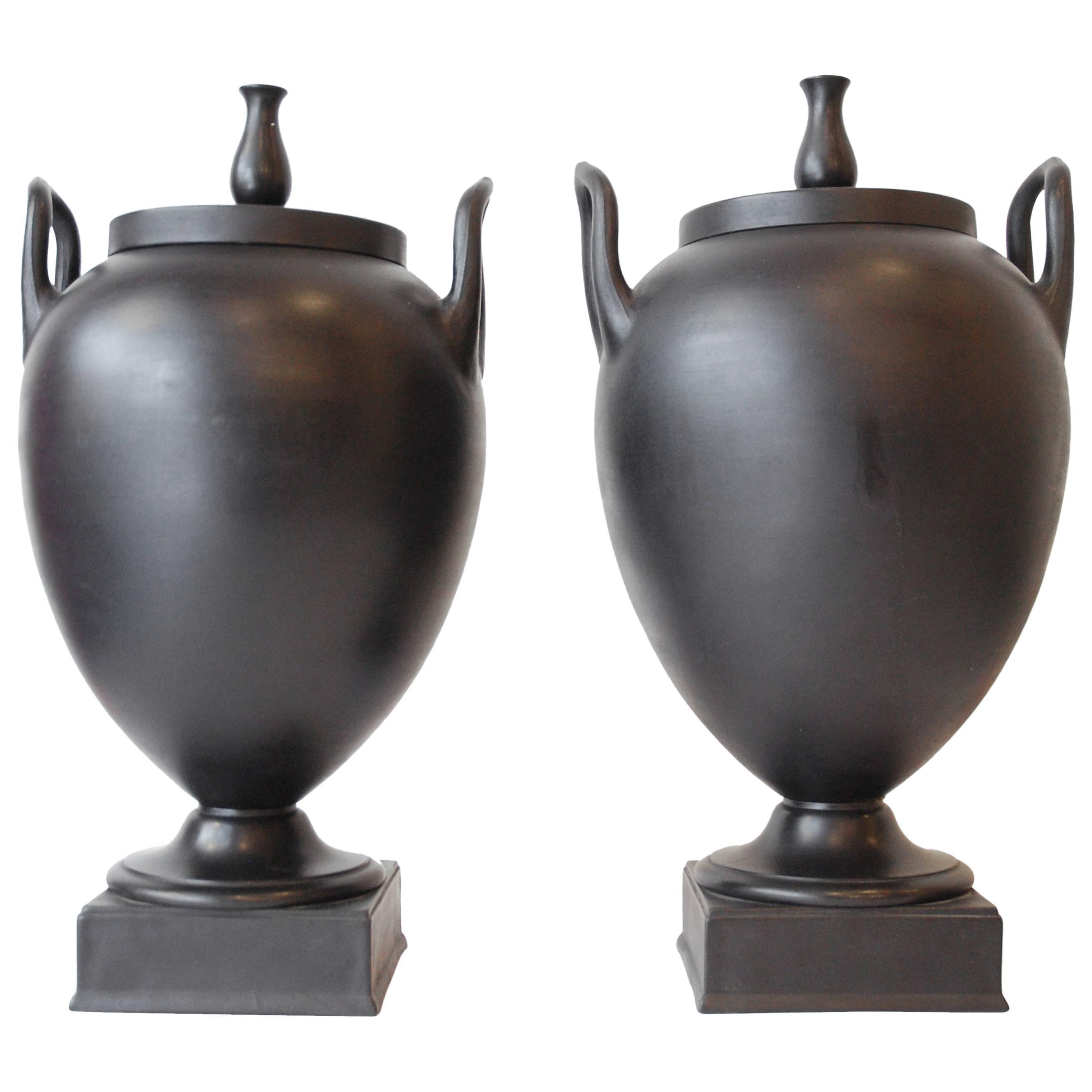 Pair of Large Basalt Vases, Wedgwood, circa 1900