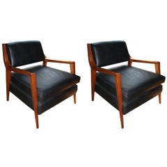 Pair of Van Beuren Chairs of Mahogany Wood with Black Leather Seats