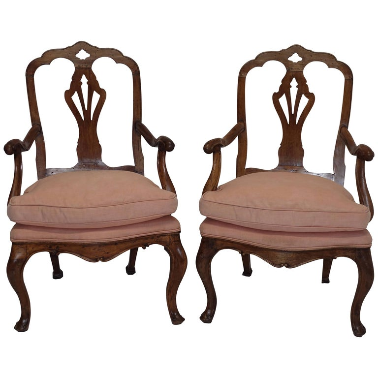 Pair of Walnut Carved Armchairs Italian 19th Century