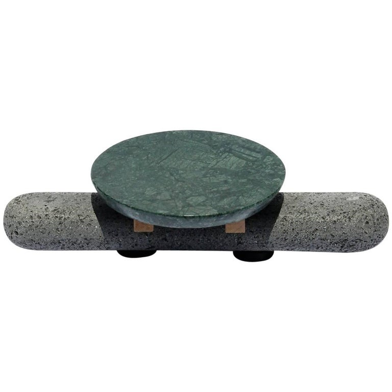 Sculptural Plate Volcanic Stone Green Marble (Small)