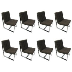 Set of Eight Mid-Century Modern Milo Baughman Cantilevered Dining Chairs