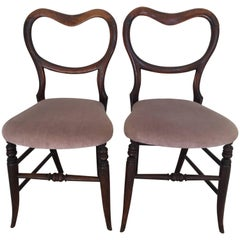 Pair of 19th Century Victorian Walnut Chairs