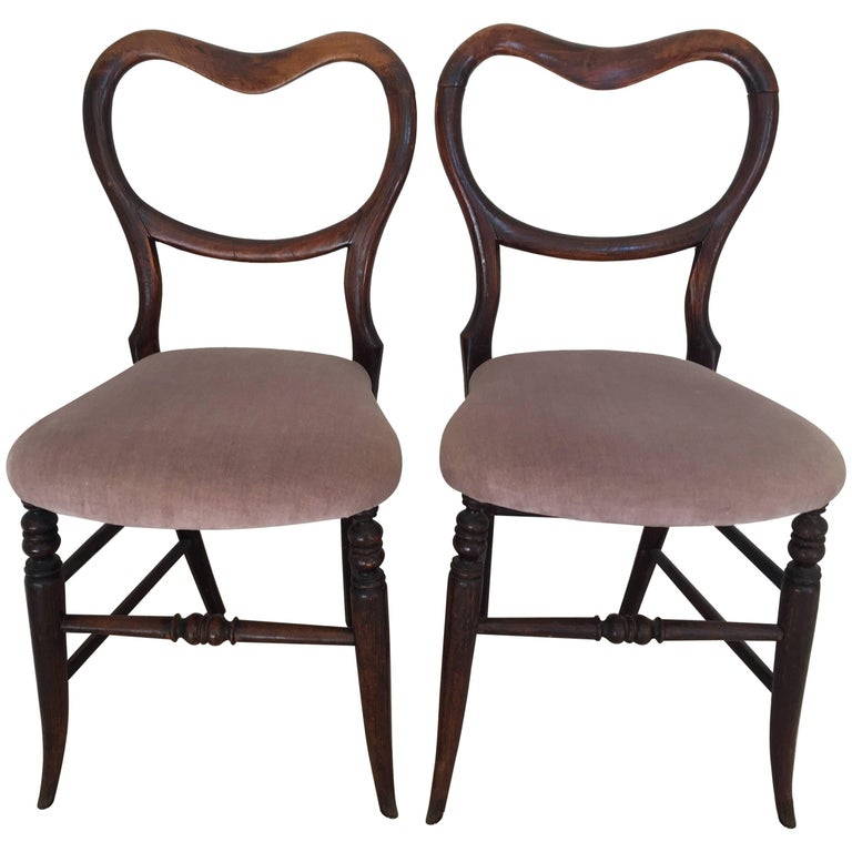 Pair of 19th Century Victorian Walnut Chairs For Sale